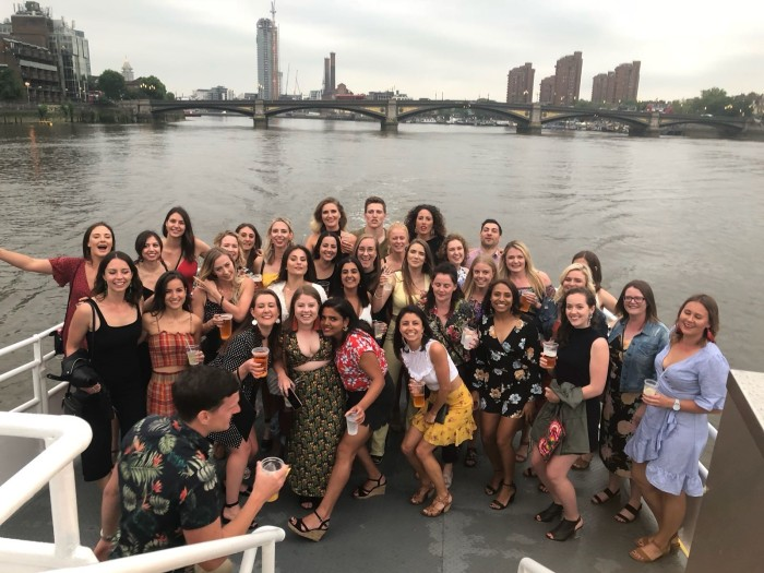 womens team photo boat party